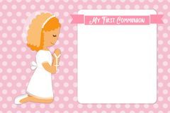 Cute First Communion card for girls. In pink colors Stock Image