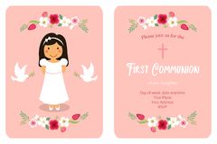 Cute First Communion card for girls. In pink colors Stock Photography