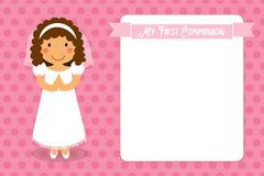 Cute First Communion card for girls. In pink colors Stock Photo