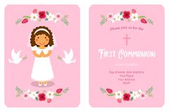 Cute First Communion card for girls. In pink colors Royalty Free Stock Photo