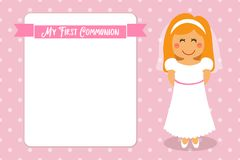 Cute First Communion card for girls. In pink colors Royalty Free Stock Photos