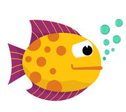Cute fish with bubbles. Vector. Royalty Free Stock Image
