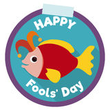 Cute Fish Button with Jester Hat for April Fools' Holiday, Vector Illustration Stock Photos