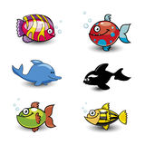 Cute Fish Cartoon Collection Stock Photo
