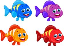 Cute fish cartoon collection set Stock Image