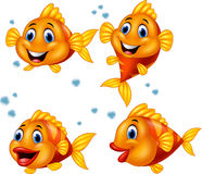 Cute fish cartoon collection set Royalty Free Stock Images