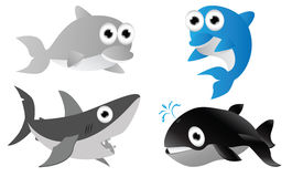Cute fish cartoon. Illustration posing Royalty Free Stock Photography
