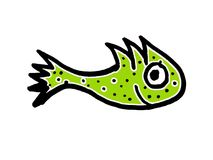 Cute Fish Cartoon Kids Style Drawing. Cartoon kids style hand draw illustration side view fish with cute expression over white background Stock Image