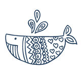 Cute fish cartoon, line art, coloring Royalty Free Stock Image