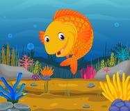 Cute fish cartoon in the sea. Illustration of Cute fish cartoon in the sea Royalty Free Stock Photos