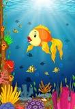 Cute fish cartoon in the sea. Illustration of Cute fish cartoon in the sea Royalty Free Stock Images