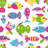 Cute fish collection pattern. Illustration of colorful cartoon fish set pattern on white background Stock Photos