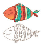 Cute fish in color and outline. Sketch of a cute fish in color and outline Stock Images