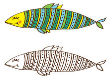 Cute fish in color and outline. Sketch of a cute fish in color and outline Stock Photo