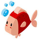 Cute fish in 3D design. Illustration Royalty Free Stock Photo