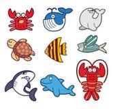 Cute fish element. 9 sea cute cartoon fish, illustration stock illustration