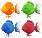 Cute fish. In four different colors Royalty Free Stock Images
