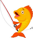 Cute fish holding fishing rod Stock Photos