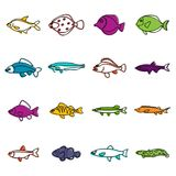 Cute fish icons doodle set Royalty Free Stock Image