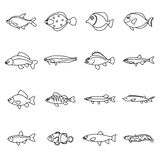 Cute fish icons set, outline style Royalty Free Stock Photos