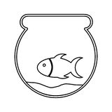 Cute fish mascot in aquarium isolated icon. Illustration design Royalty Free Stock Photo
