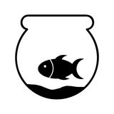 Cute fish mascot in aquarium isolated icon Royalty Free Stock Photography