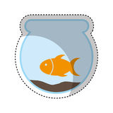 Cute fish mascot in aquarium isolated icon Stock Photography