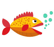 Cute fish  mouth opened with bubbles. Fish on a white background. Vector Illustration. Stock Photography
