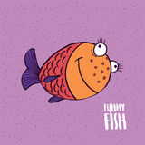 Cute fish with smile in handmade cartoon style Royalty Free Stock Photography