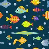 Cute fish vector illustration seamless pattern background.  vector illustration