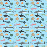 Cute fish vector illustration seamless pattern Royalty Free Stock Photo