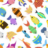 Cute fish vector illustration seamless pattern Stock Images