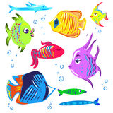 Cute fishes cartoon collection. Fish cartoon collection vector hand drawn cute Royalty Free Stock Images