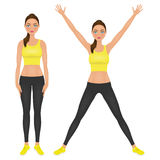 Cute fit girl with hands up. Young woman in yellow leggings and crop top. Character vector illustration. Stock Photo