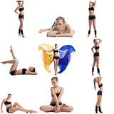 Cute fitness girl posing. Collage of many photos Stock Photos