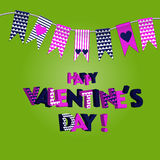 Cute flags ideal for Valentines Day, wedding, birthday, bridal shower, baby shower, retro party decoration etc. Green background Royalty Free Stock Photo