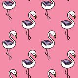 Cute flamingo seamless pattern with pink background Royalty Free Stock Images