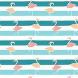 Cute flamingos on blue stripes background seamless pattern illustration Royalty Free Stock Photo