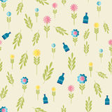 Cute flat background, vector pattern with flowers. Seamless vector floral pattern for cushion, pillow, bandanna, silk kerchief or Stock Images