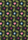 Cute flat background, vector pattern with flowers. Seamless vector floral pattern for cushion, pillow, bandanna, silk kerchief or Royalty Free Stock Photo