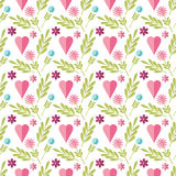 Cute flat background, vector pattern with flowers. Seamless vector floral pattern for cushion, pillow, bandanna, silk kerchief or Stock Photos
