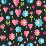 Cute flat background, vector pattern with flowers. Seamless vector floral pattern for cushion, pillow, bandanna, silk kerchief or. Cute flat background, vector stock illustration