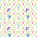 Cute flat background, vector pattern with flowers. Seamless vector floral pattern for cushion, pillow, bandanna, silk kerchief or Royalty Free Stock Photography
