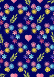 Cute flat background, vector pattern with flowers. Seamless vector floral pattern for cushion, pillow, bandanna, silk kerchief or Royalty Free Stock Images