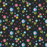 Cute flat background, vector pattern with flowers. Seamless vector floral pattern for cushion, pillow, bandanna, silk kerchief or Stock Photo