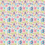 Cute flat background, vector pattern with flowers. Seamless vector floral pattern for cushion, pillow, bandanna, silk kerchief or Stock Image
