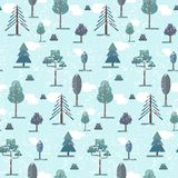 Cute flat blue winter forest trees pattern stock illustration