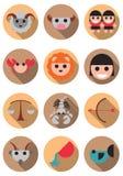 Cute flat circle color zodiac icon symbols in flat design royalty free illustration