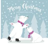 Cute flat design Christmas card with polar bears and wishes vector illustration