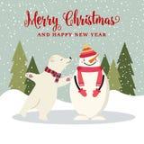 Cute flat design Christmas card with snowman and polar bear stock illustration